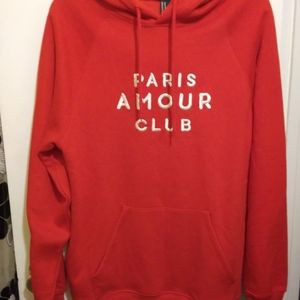 Mens hoodie red new embroidered Paris